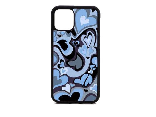 blue swirly heart phone case