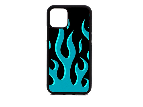 Blue neon flame phone case (black)
