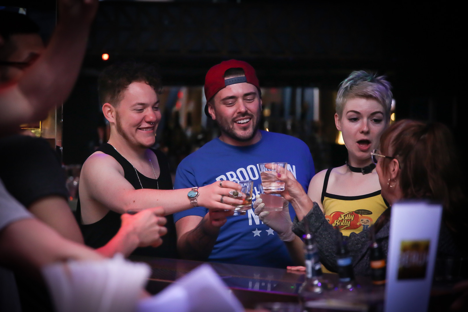 Storment takes a shot with friends at Beaux in the Castro, San Francisco on May 13.   Storment hosts Vamp Mondays, which is a trans and queer dedicated nightlife party on Monday nights. (Photo: Adelyna Tirado)