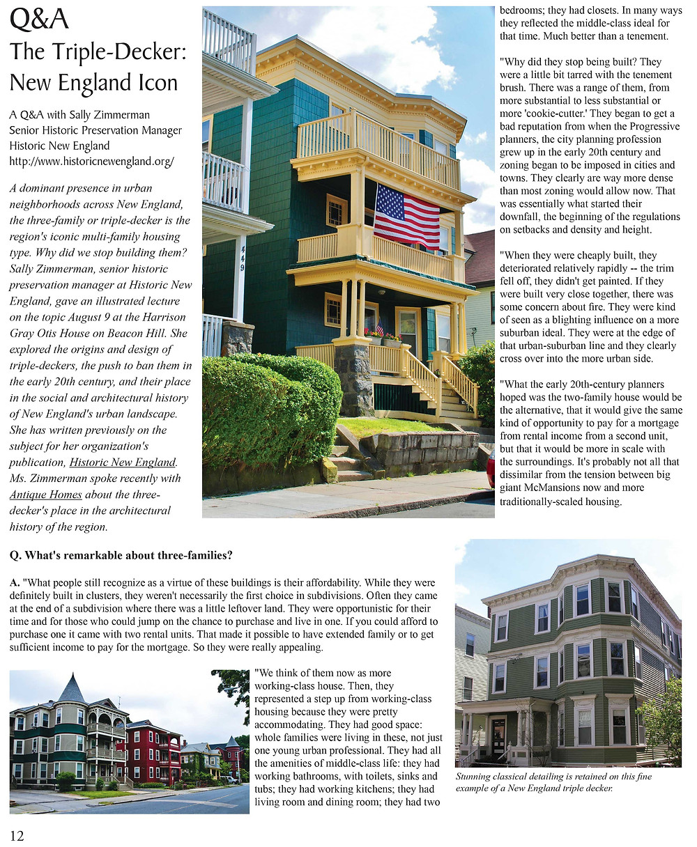 The Triple-Decker: New England Icon- by Antique Homes magazine