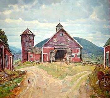 Featured in FARMERS' CASTLES BY ROBERT STRONG WOODWARD is the oil painting Farmer's Castle, c. 1940. Courtesy Memorial Hall Museum, PVMA, Deerfield, MA