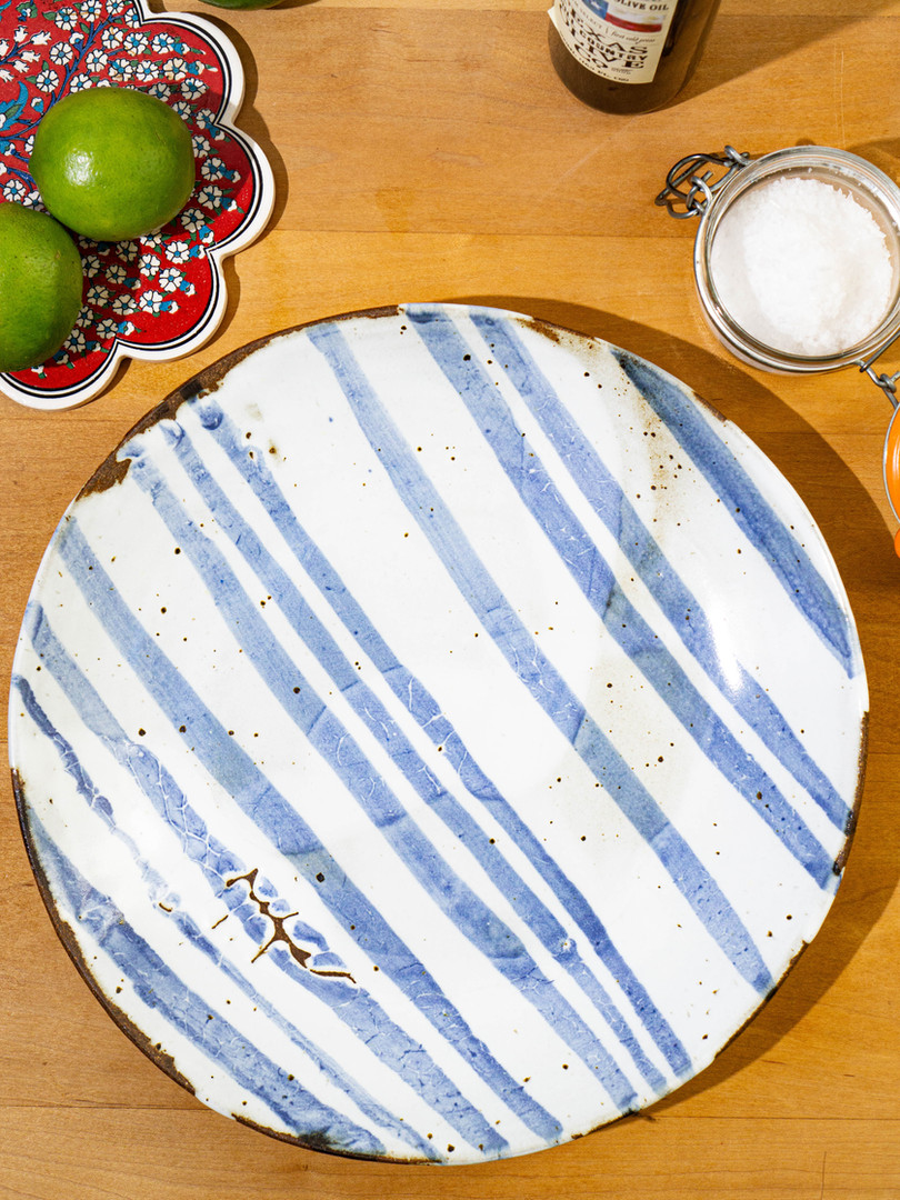 Indigo Stripe Platter