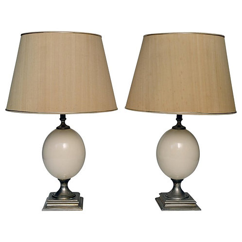SOLD Pair of french egg table lamps, 1970s