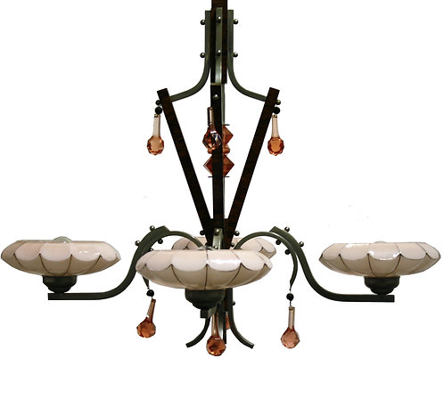 Art deco chandelier with pink opaline glass shades 1930s