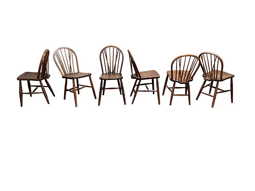 SOLD Set of 6 Unique Vintage Solid Wooden Ercol Dining Chairs by Lucian Ercol