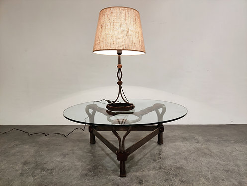 SOLD Mid century iron and leather table lamp by  Jacques Adnet, 1950s