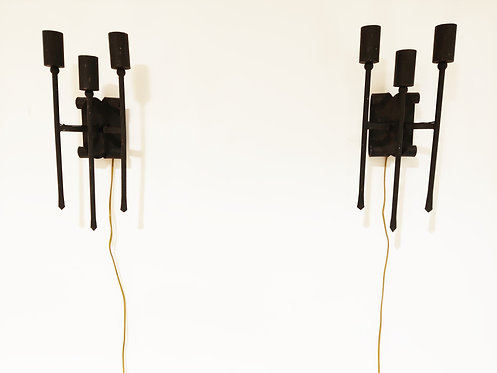 SOLD Pair of vintage brutalist wall lamps, 1960s