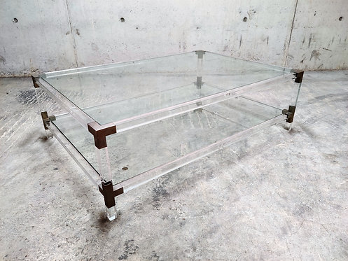 Lucite and chrome coffee table by Charles Hollis Jones, 1970s