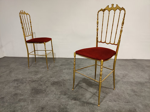 SOLD Pair of vintage brass Chiavari chairs, 1960s