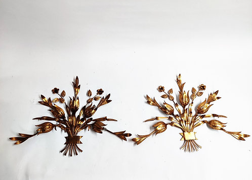 SOLD Vintage gilded italian wall lamps, 1960s