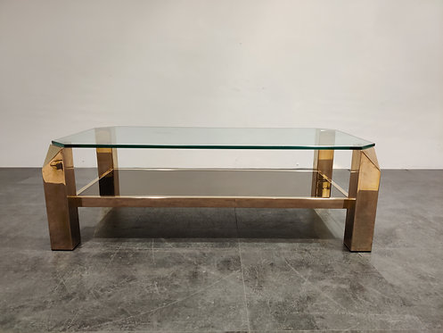 SOLD Vintage 23kt gold coffee table by Belgochrom, 1970s