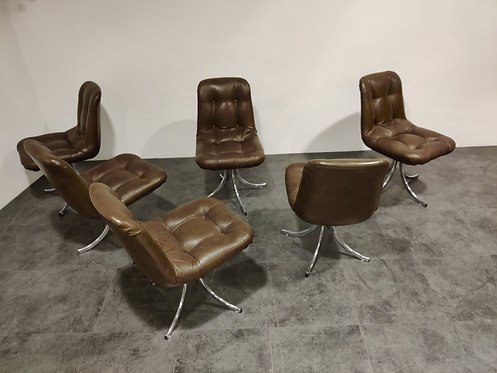 SOLD Vintage chrome and leather swivel dining chairs, 1970s