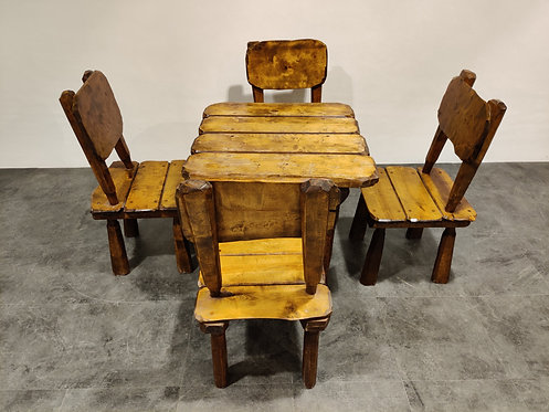 Vintage wabi sabi dining chairs and table, 1960s