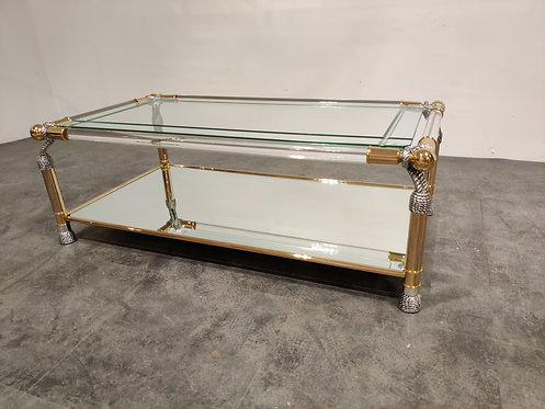 Brass and lucite coffee table, 1980s