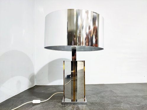 SOLD Brass and chrome table lamp, 1970s