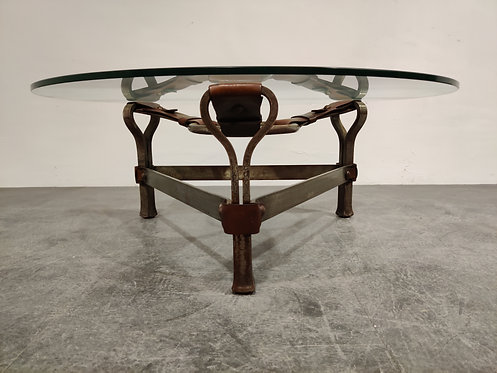 Vintage leather and steel coffee table by Jacques Adnet, 1960s