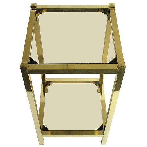 Vintage brass two tier display table, 1970s