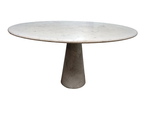 Round carrara marble dining table by Angelo Mangiarotti, 1970s