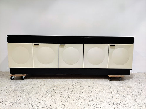 SOLD Large black and white brutalist credenza, 1970s