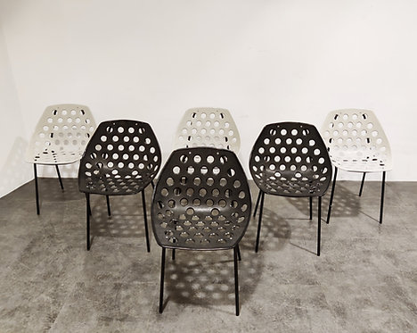 SOLD Vintage coquillage chairs by Pierre Guariche for Meurop, 1960s - set of 6