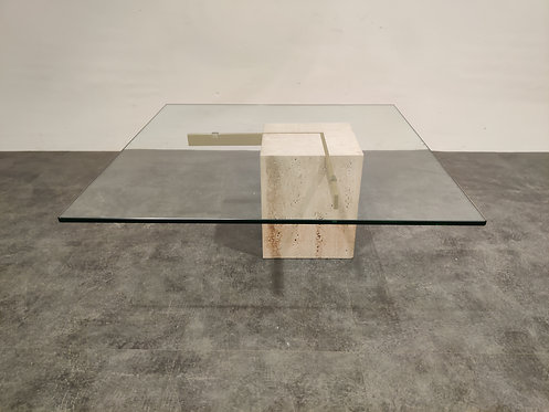 SOLD Travertine and brass coffee table by Artedi, 1980s