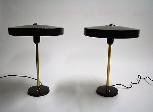 Vintage louis kalff table lamps, pair of 2, 1960s