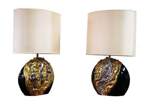 Pair of sculpted ceramic art table lamps by Deliege