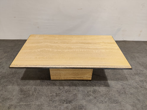 Vintage travertine and brass coffee table by Fedam, 1970s