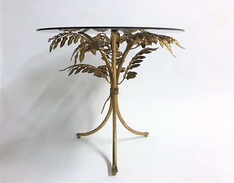 Vintage gilt metal palm tree side table, italy 1960s