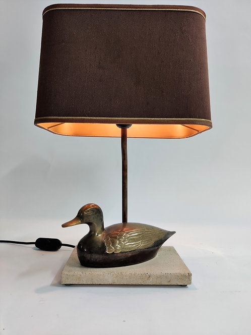 Vintage French Brass Duck on a travertine base table lamp, 1970s France