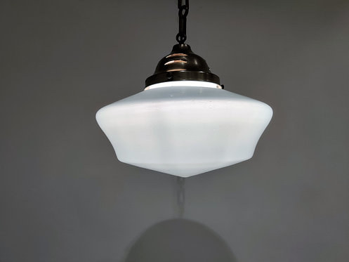 Antique conical opaline pendant lights 1930s