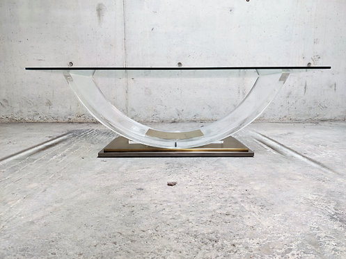 Lucite and brass arch coffee table, 1970s