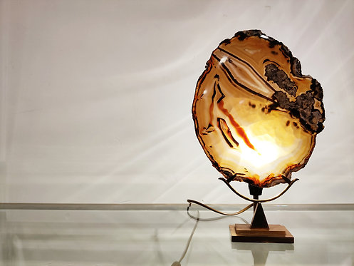 Vintage brass agate slice table lamp, 1970s