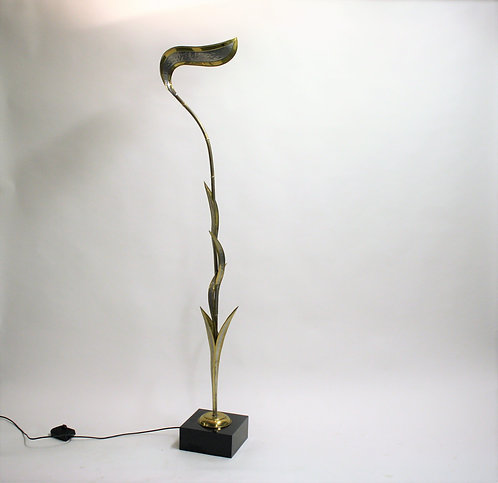 Large brass 'foliage' floor lamp by Isabelle & Richard Faure, 1970s
