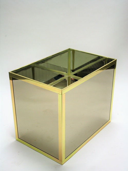 Vintage mirrored and brass planter, 1970s