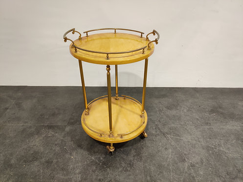 SOLD Italian Lacquered Goatskin / Parchment Serving Bar Cart by Aldo Tura, 1960s