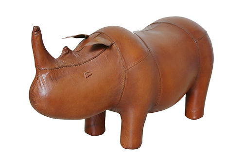 Small vintage rhinoceros leather foot stool by Dimitri Omersa for Abercrombie &