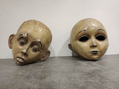 Large antique papier maché carnival masks, 1900s