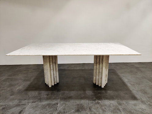 SOLD White marble dining table, 1970s
