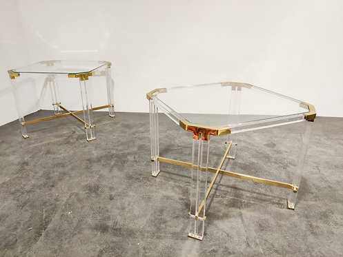 Vintage lucite and brass side tables by Charles Hollis Jones , 1970s