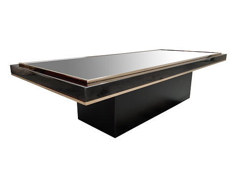 Vintage black and brass coffee table, 1970s