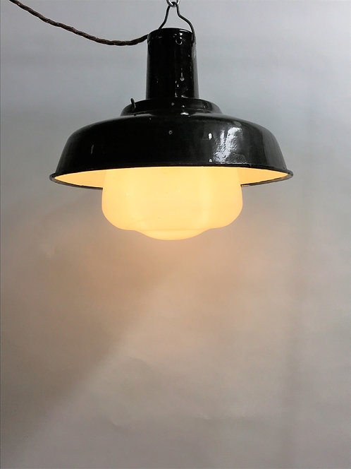Industrial lamps with opaline glass, 1960s