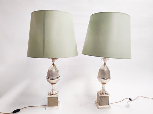 SOLD Pair of vintage acorn table lamps, 1970s