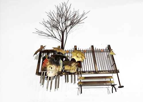 SOLD Copper 'bus stop' wall sculpture by Curtis Jeré, 1970s
