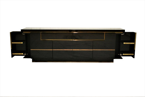 Black lacquered credenza by Jean Claude Mahey, 1970s