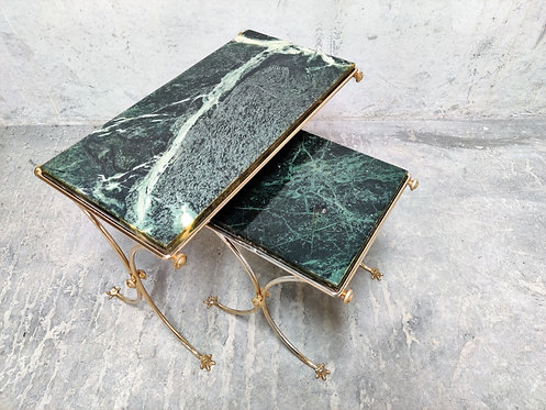 Brass and green marble nesting tables 1960s