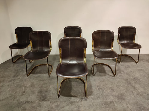 SOLD Vintage brass dining chairs by Willy Rizzo for cidue set of 6, 1970s