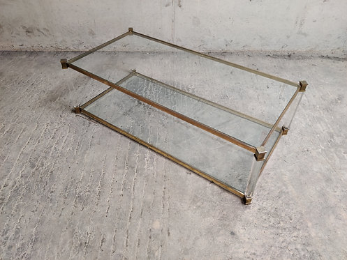 Lucite and brass two tier coffee table, 1970s