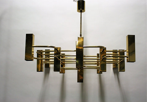 SOLD Large brasschandelier by Gaetano sciolari,1970s