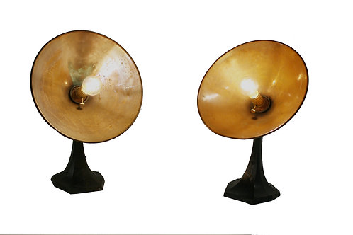 Pair of copper and cast iron table lamps 1930s